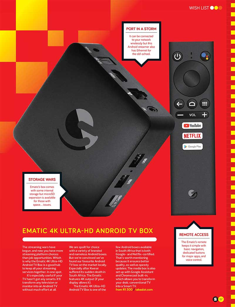 Ematic 4k Ultra-HD Android TV Box in December Stuff Magazine - Wish List Edition Page 97